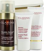 CLARINS SET Double Serum 30ml + Gentle Refiner Exfoliating Cream 30ml + Beauty Flash Balm 15ml